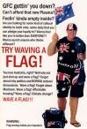 'Flag waving' postcard by Bernie Slater, 2010.